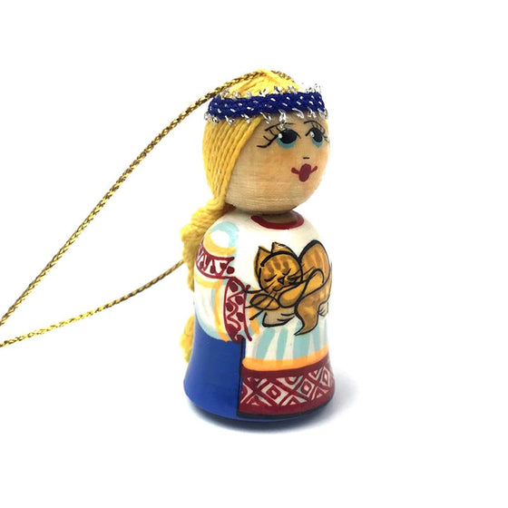 Wooden Ornament: Girl with Cat