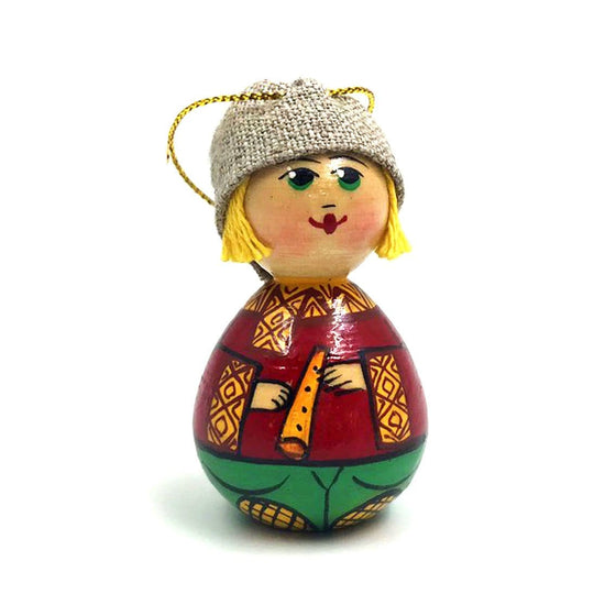 Wooden Ornament: Boy with Flute