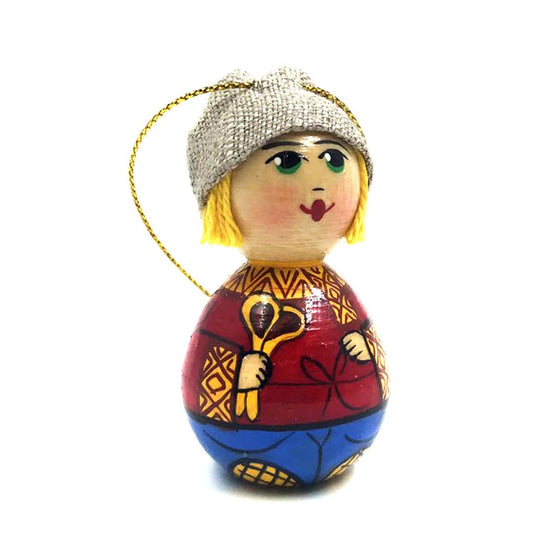Wooden Ornament: Boy with Spoons