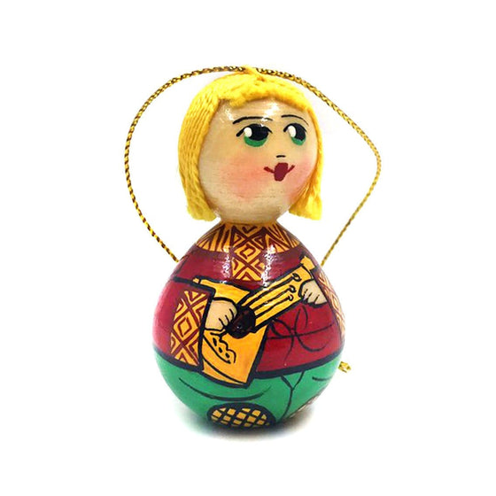 Wooden Ornament: Boy with Balalaika