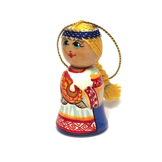 Wooden Ornament: Girl Holiday Visitor (Blue)