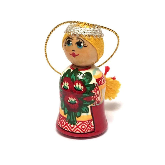Wooden Ornament: Girl with Flowers