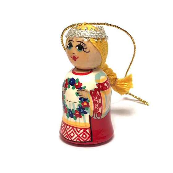 Wooden Ornament: Girl with Wreath