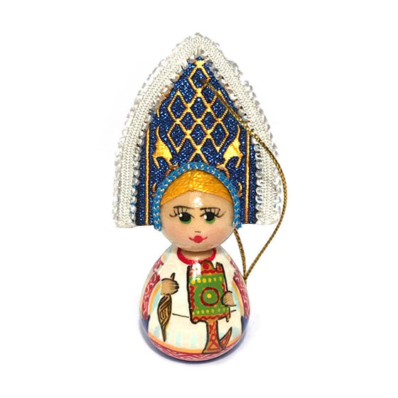 "Wooden Ornament ""Kokoshnik Wool Spinning"""
