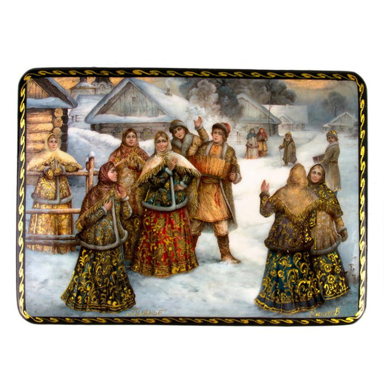 "Lacquer Box ""Winter Village"""