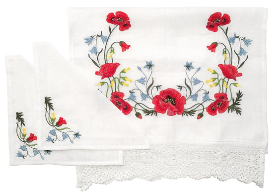 Wedding Rug & Candle Napkins: Poppies & Lace