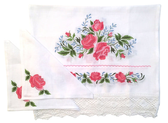 Wedding Rug & Candle Napkins: Roses & Lace
