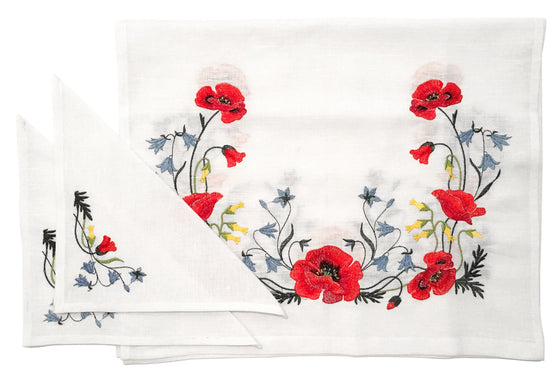Wedding Rug & Candle Napkins: Poppies
