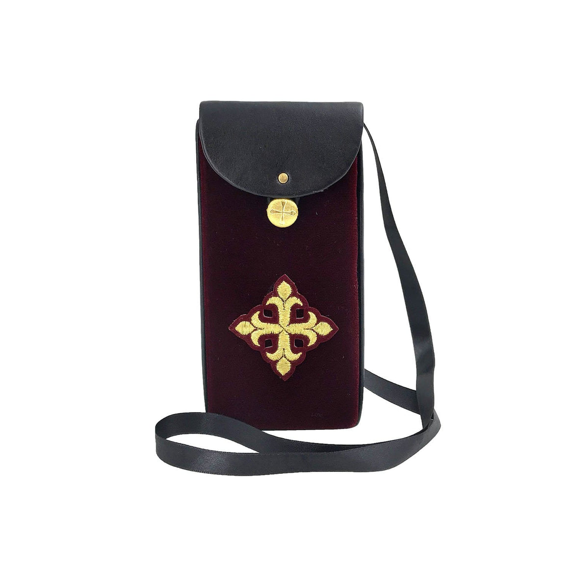 Communion Travel Pouch: Leather & Velvet (Burgundy)