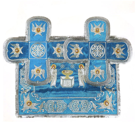 Chalice Cover & Aer Set: Embroidered Blue (1.0–1.5 liters)