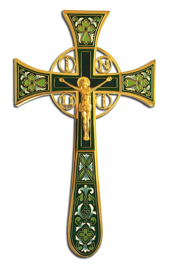 Altar Cross: Gold-plated & Green Enamel