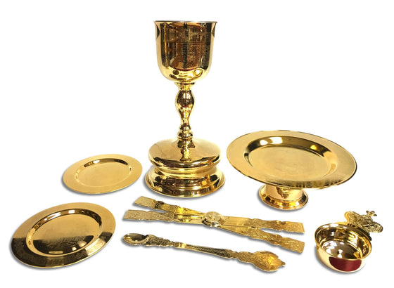 Communion Set: Gold Plated (0.75 liters, 7-pc.)