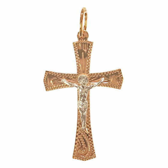 Rose Gold Cross with Silver Crucifix