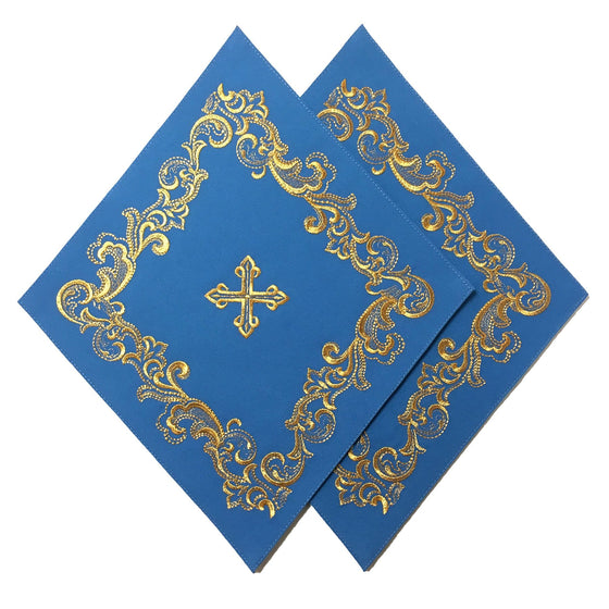 Blessing Cross Diamond Set: Blue & Gold