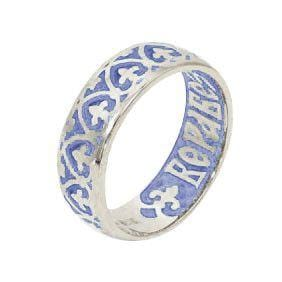 Enameled Silver Ring, size 7.5