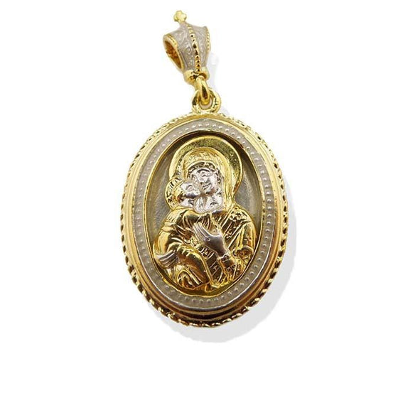"Vermeil Mother of God ""of Vladimir"" Gold-plated Icon Pendant"
