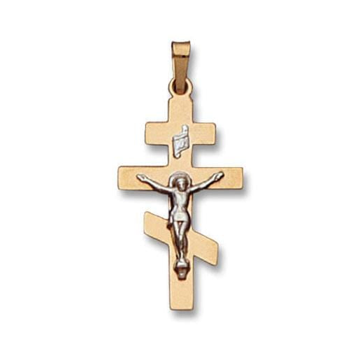 Gold Cross Pendant with White Gold Crucifix