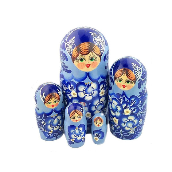 Matryoshka: Blue Gzhel, 5-piece