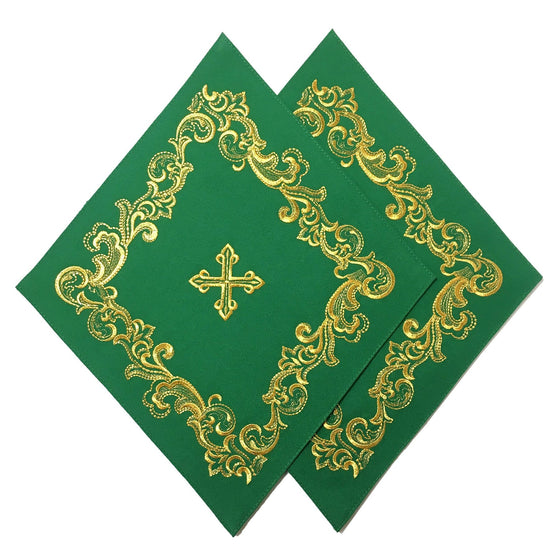 Blessing Cross Diamond Set: Green & Gold