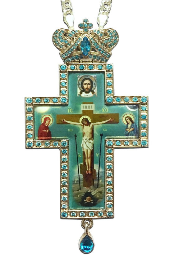"""Golgotha Teardrop: Silver"" Jeweled Pectoral Cross"