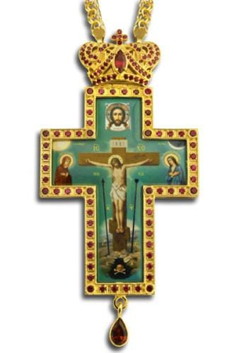 """Golgotha Teardrop: Gold"" Jeweled Pectoral Cross"