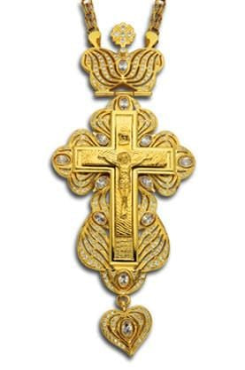 """Imperial"" Jeweled Pectoral Cross: White Ice"