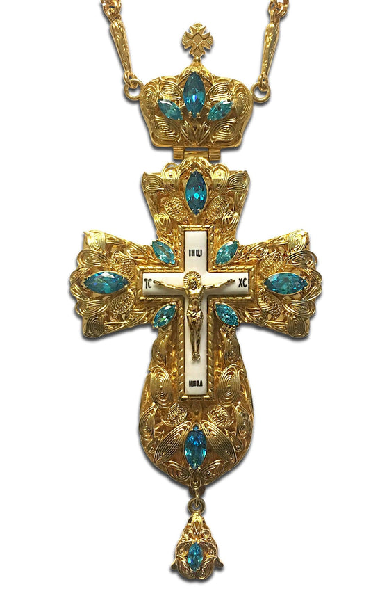 """Everlasting Life: Aquamarine"" Jeweled Pectoral Cross"