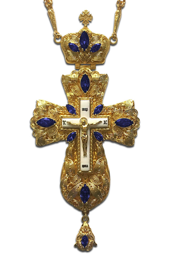 """Everlasting Life: Royal Blue"" Jeweled Pectoral Cross"