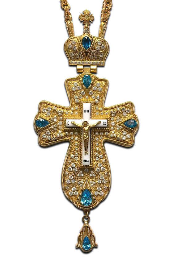 """Alpha & Omega: Aquamarine"" Jeweled Pectoral Cross"