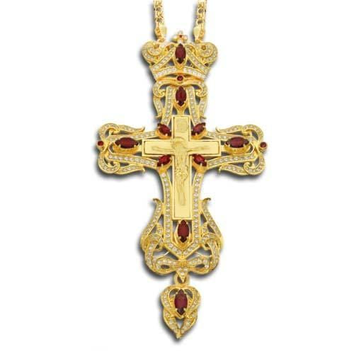 """Regency"" Jeweled Pectoral Cross: Ruby"