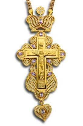 """Imperial"" Jeweled Pectoral Cross: Violet Ice"