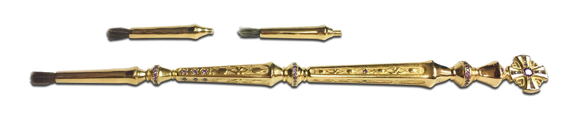 Anointing Brush: Gold-plated with Violet Gems