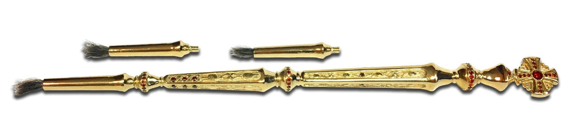 Anointing Brush: Gold-plated with Red Gems