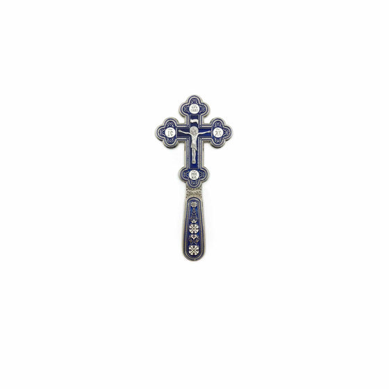 Blessing Cross for Travel: Blue Enamel (Small)