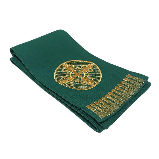 Gospel Marker: Green with Gold Embroidery