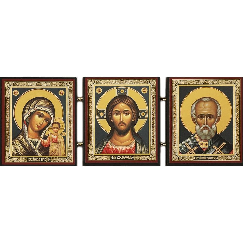 "Triptych Icon of Christ, the Mother of God Icon ""of Kazan,"" and St. Nicholas the Wonderworker"