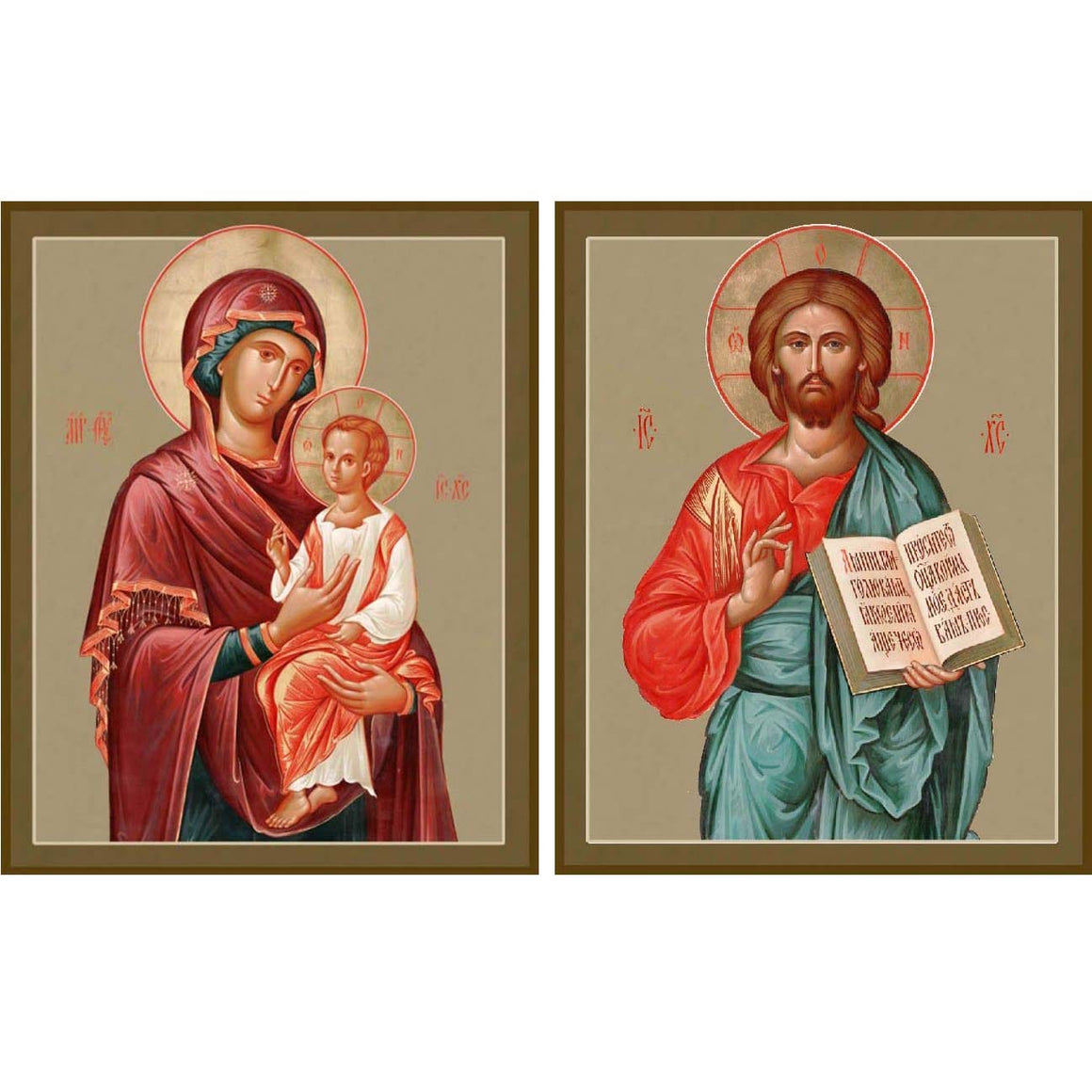 "Pair of Wedding Icons, ""Pimenovskaya Mother of God"" and ""Christ the Pantocrator"""