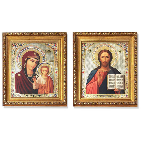 Framed Pair of Wedding Icons: Large
