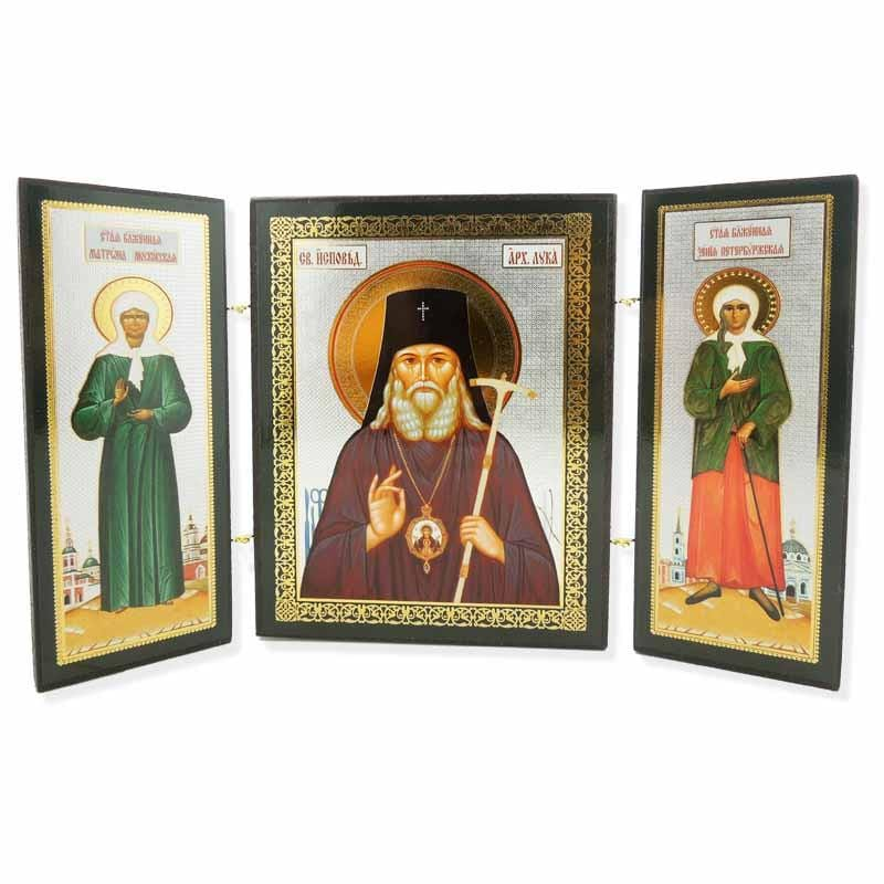 Triptych Icon of St. Luke, St. Xenia & St Matrona