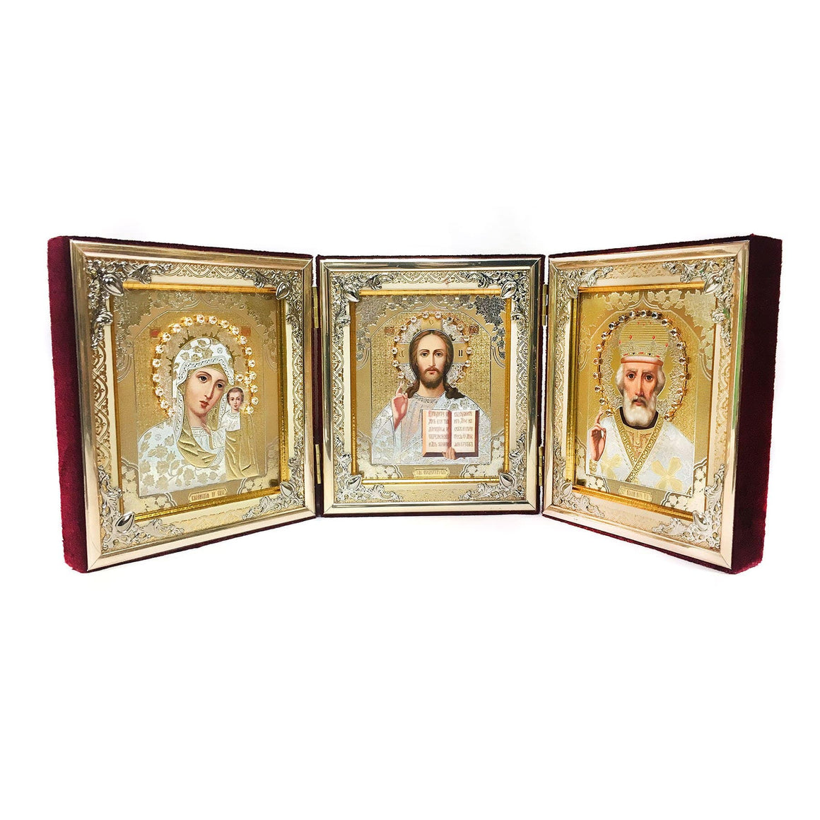 Triptych Icons in Velvet Case (Maroon, Large)