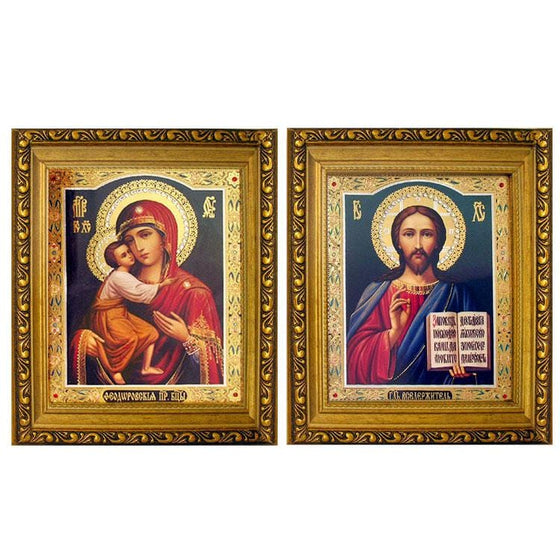 Framed Pair of Wedding Icons: Medium