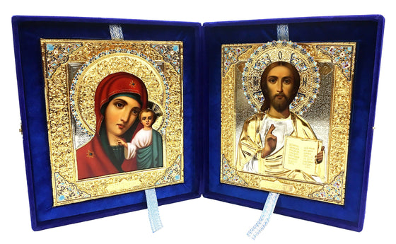 Hand-painted Wedding Icon Set with Enameled Riza