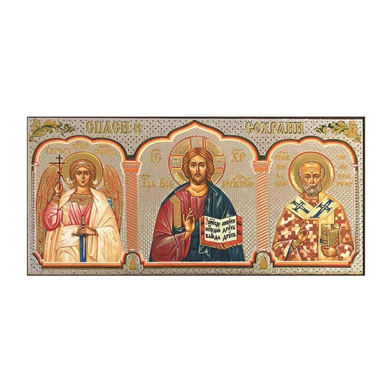 Car Icon: Christ, Guardian Angel & St. Nicholas