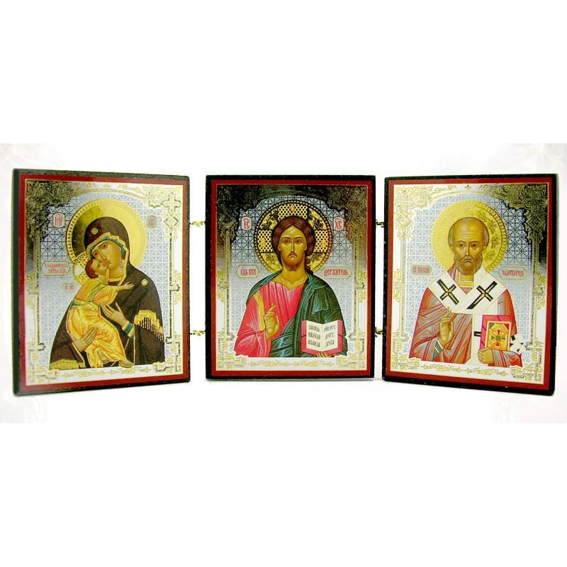 "Triptych Icon of Christ, the Mother of God Icon ""of Vladimir,"" and St. Nicholas the Wonderworker"