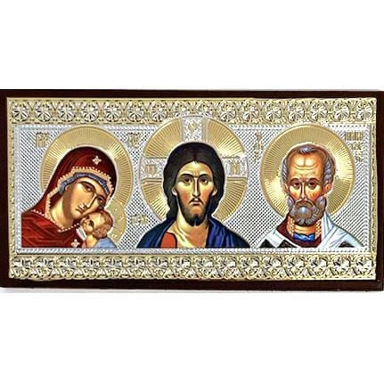 Car Icon: Christ, Mother of God, and St. Nicholas