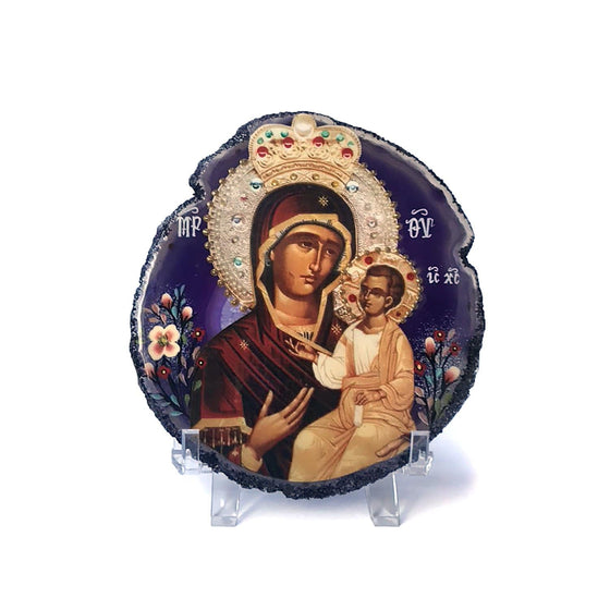 Agate Stone Icon: Myrrh-streaming Iveron Mother of God of Hawaii
