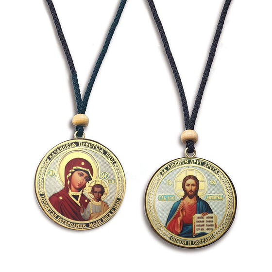Hanging Icon: Theotokos of Kazan and Christ Almighty