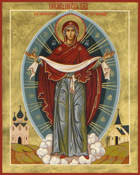 """Protection"" of the Mother of God Icon (Canvas Print)"