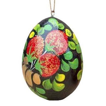 Floral Wooden Egg Ornament: Forest Berries