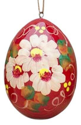 Floral Wooden Egg Ornament: Red Daisies